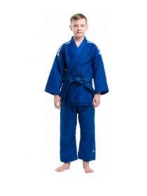 Кимоно для дзюдо подростковое Adidas CLUB синее с белыми полосками