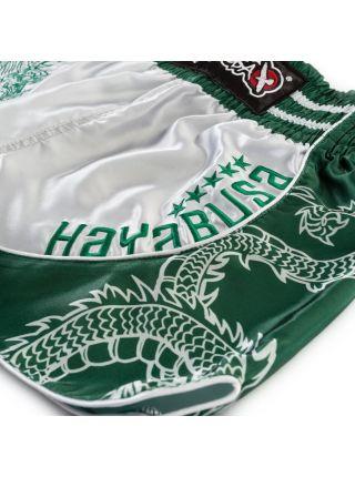 Шорты муай тай Hayabusa Sacred серебряно-зеленые