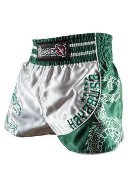 Шорты для тайского бокса Hayabusa Sacred серебряно-зеленые