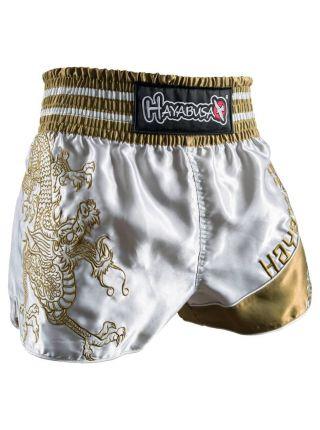 Шорты для тайского бокса Hayabusa Sacred серебряно-золотые