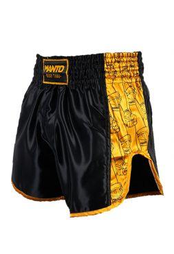 Шорты для тайского бокса MANTO FISTS черно-желтые
