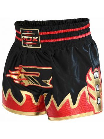 Шорты для тайского бокса RDX Ultra Crimson Satin черные