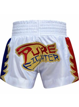 Шорты для тайского бокса RDX Diamond Satin белые
