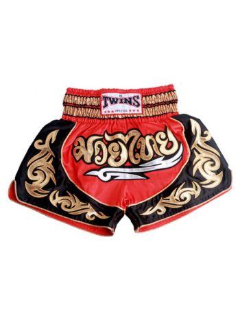 Шорты для тайского бокса Twins TWS-930 черно-красно-золотые