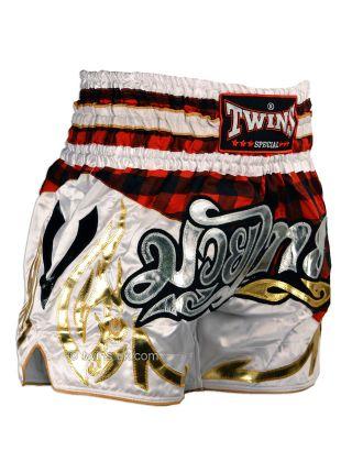 Шорты для тайского бокса TWINS TWS-851 Red Tartan красно-белые