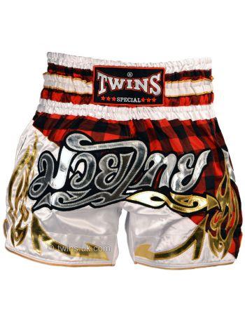 Шорты муай тай TWINS TWS-851 Red Tartan красно-белые