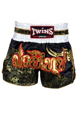 Шорты для тайского бокса TWINS черно-золотые TWS-855