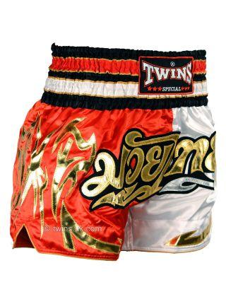 Шорты для тайского бокса TWINS красно-белые TWS-858