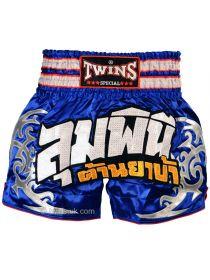 Шорты для тайского бокса TWINS сине-серебряные TWS-860