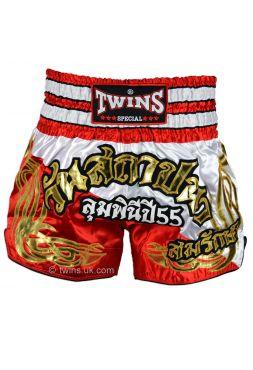 Шорты для тайского бокса TWINS красно-белые TWS-874