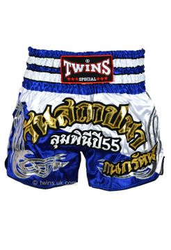 Шорты для тайского бокса TWINS TWS-875 бело-синие