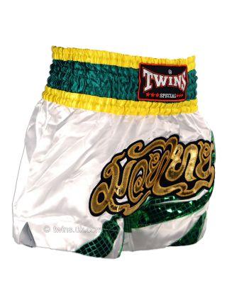 Шорты для тайского бокса TWINS бело-зеленые TWS-882
