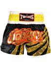 Шорты для тайского бокса TWINS черно-золотые TWS-883