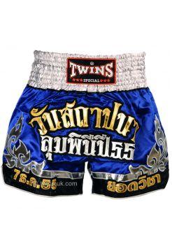 Шорты для тайского бокса TWINS сине-золотые TWS-890