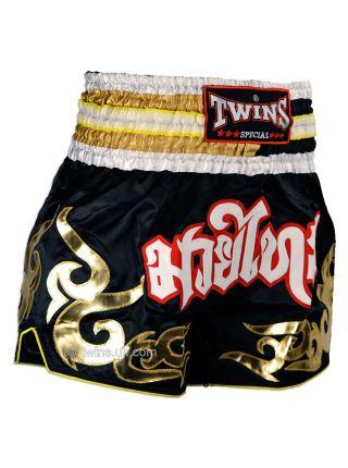 Шорты для тайского бокса TWINS черно-золотые TWS-894