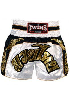 Шорты для тайского бокса TWINS бело-золотые TWS-896