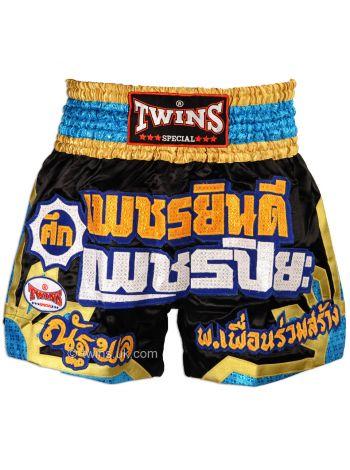 Шорты для тайского бокса TWINS черно-золотые TWS-904