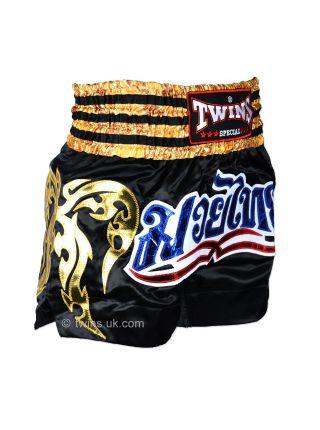 Шорты для тайского бокса Twins TWS-008 черно-золотые