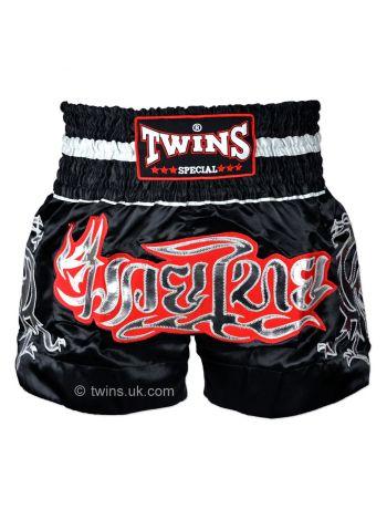 Шорты для тайского бокса Twins TWS-153 черно-серебряные