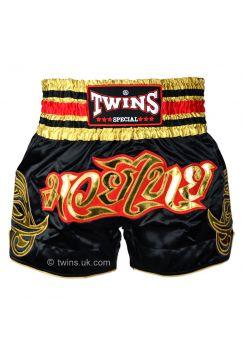 Шорты для тайского бокса Twins TWS-154 черно-золотые