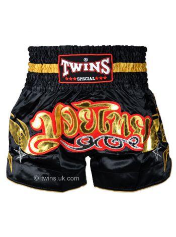 Шорты для тайского бокса Twins TWS-156 черно-золотые