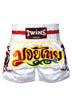 Шорты для тайского бокса Twins TWS-158 бело-красные