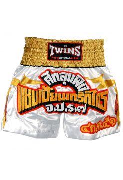 Шорты для тайского бокса Twins TWS-907 бело-красно-золотые