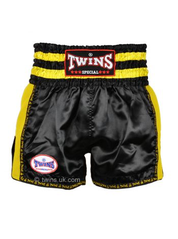 Шорты для тайского бокса Twins TWS-924 черно-желтые