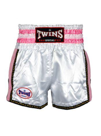 Шорты для тайского бокса Twins TWS-926 бело-розовые