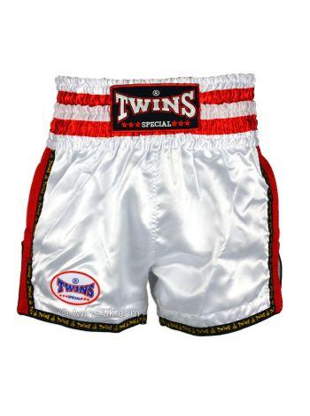 Шорты для тайского бокса Twins TWS-927 бело-красные