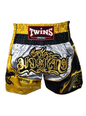 Шорты для тайского бокса Twins TWS-Dragon-1 серебряно-золотые