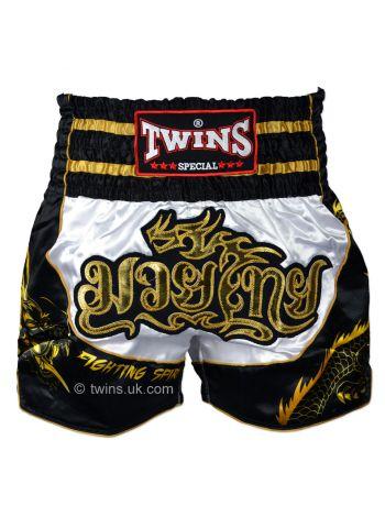 Шорты для тайского бокса Twins TWS-Dragon-3 бело-черные