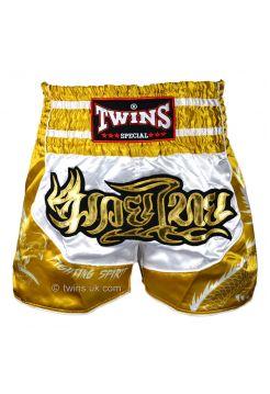 Шорты для тайского бокса Twins TWS-Dragon-4 бело-золотые