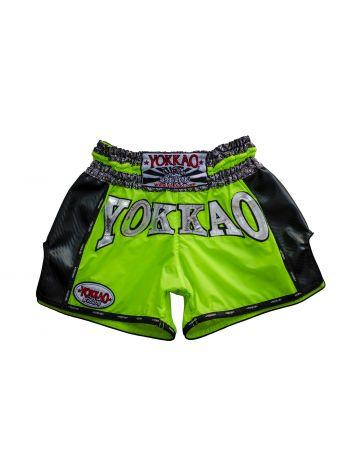 Шорты для тайского бокса Yokkao Airtech Carbon ярко-зеленые