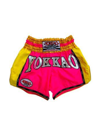 Шорты для тайского бокса Yokkao Airtech Carbon желто-розовые