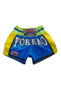 Шорты для тайского бокса Yokkao Airtech Carbon желто-голубые