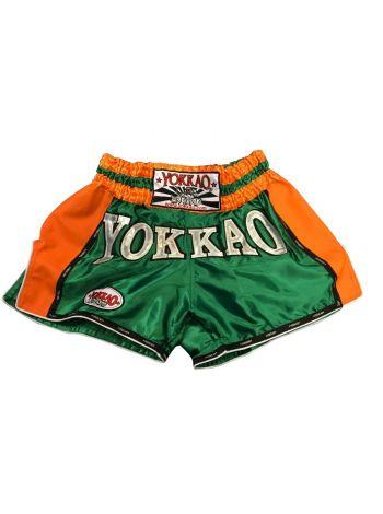 Шорты для тайского бокса Yokkao Carbon Strike зелено-оранжевые