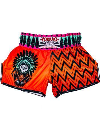 Шорты для тайского бокса Yokkao CarbonFit Santa Muerte оранжевые