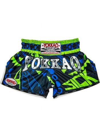 Шорты для тайского бокса Yokkao CarbonFit Sick сине-зеленые