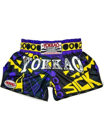 Шорты для тайского бокса Yokkao CarbonFit Sick фиолетово-желтые