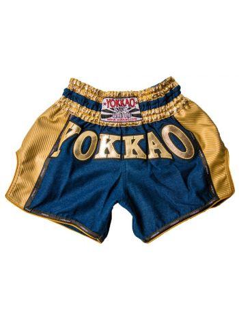Шорты для тайского бокса Yokkao Denim Carbon Gold