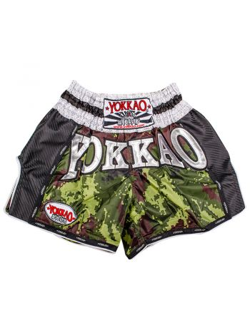 Шорты для тайского бокса Yokkao Green Army Carbon