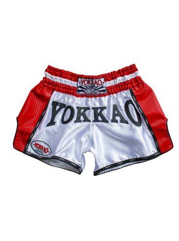 Шорты для тайского бокса Yokkao Hurricane Carbon красно-белые
