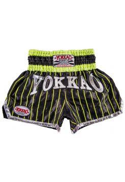Шорты для тайского бокса Yokkao Pinstripe Satin черно-зеленые