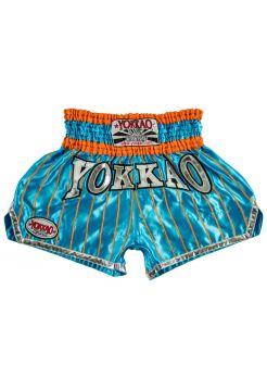 Шорты для тайского бокса Yokkao Pinstripe Satin оранжево-голубые