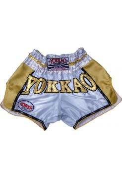 Шорты для тайского бокса Yokkao Vegas Carbon бело-золотые