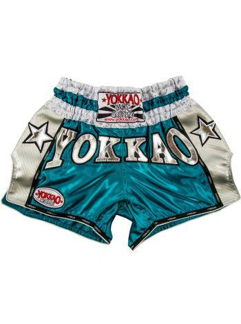 Шорты для тайского бокса Yokkao Vintage Carbon голубые
