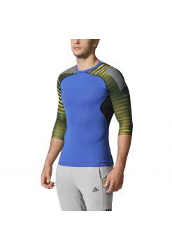 Рашгард с длинным рукавом Adidas Techfit Cool Graphic 3/4 Sleeve сине-зеленый