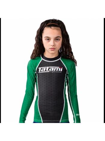 Рашгард детский с длинным рукавом Tatami IBJJF зеленый