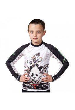 Рашгард детский с длинным рукавом Tatami Gentle Panda бело-черный